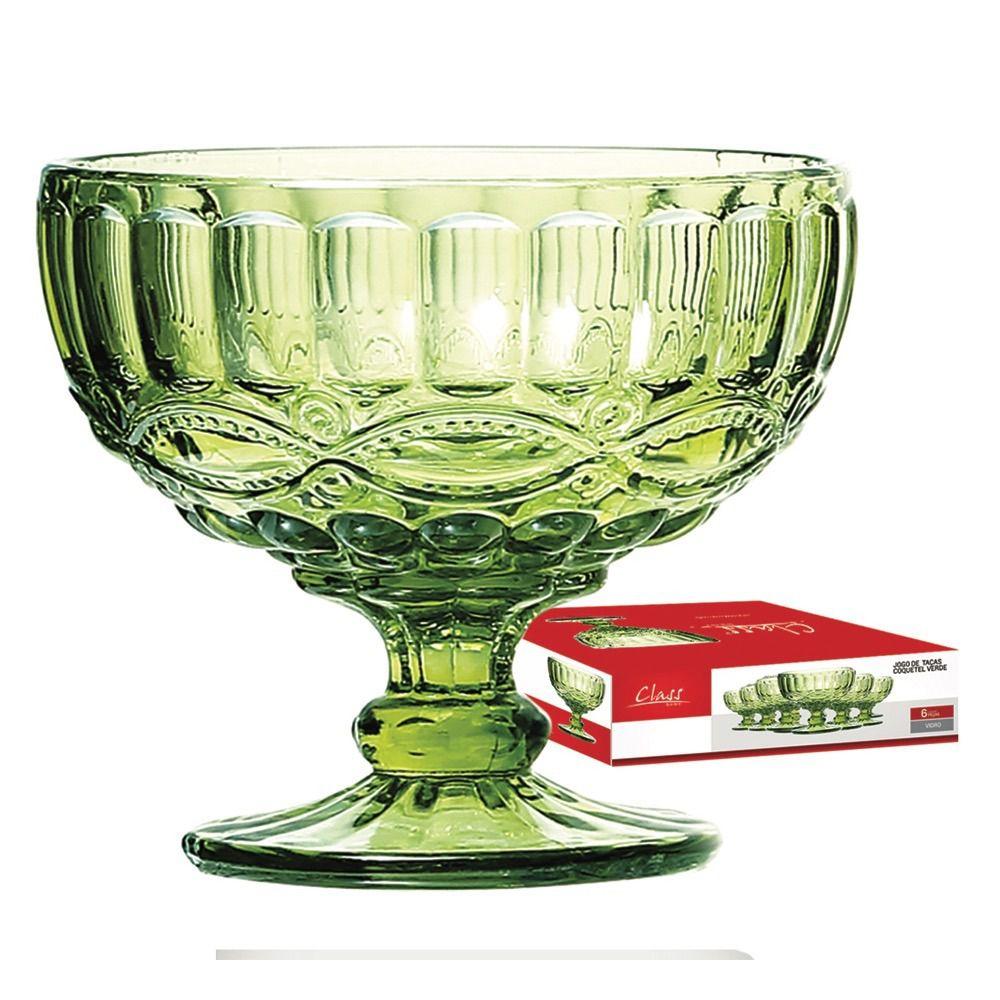 Jogo Taça Sobremesa Elegance 310ml Verde 6 Peças Class Home