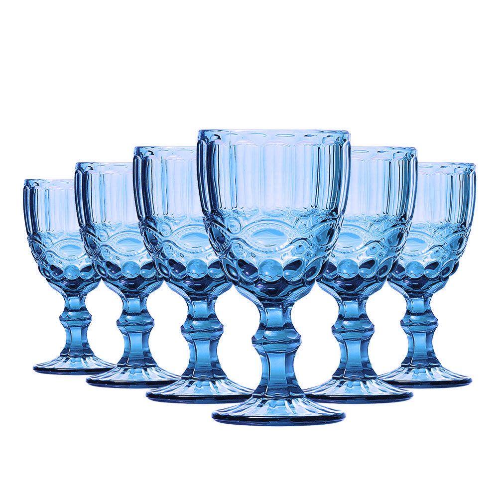 Jogo Taça Vinho Elegance Azul 210ml Class Home
