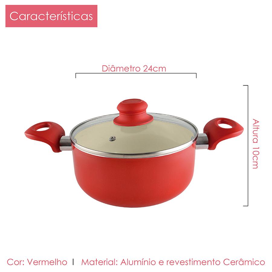 Kit 3 Caçarola Revest Cerâmico 2,0mm Class Home 20, 22, 24cm