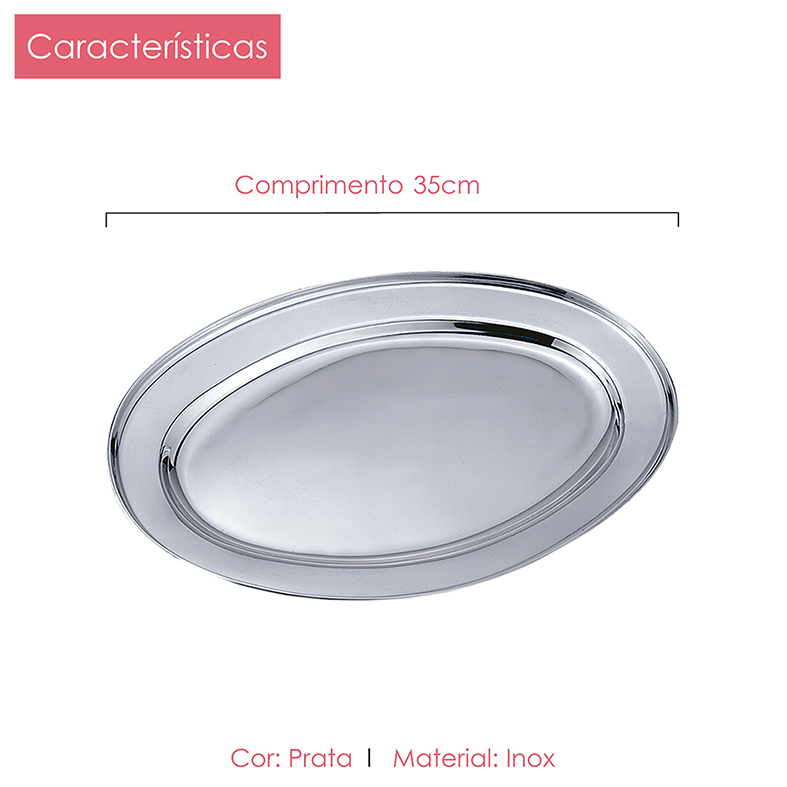 Kit 3 Travessa de Inox Oval  25cm, 35cm e 45cm Class Home