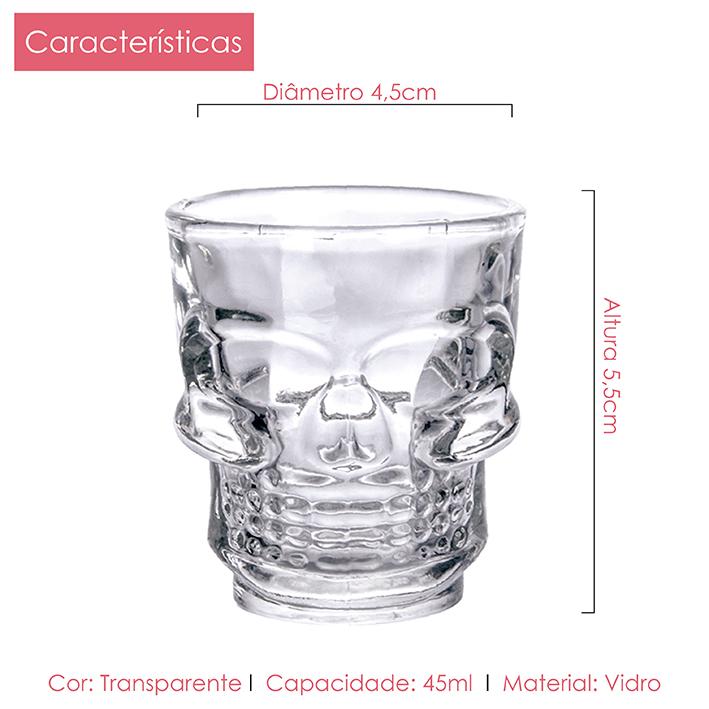 Kit Caveira 6 Canecas Chopp 365ml + 6 Copo Shoot 45ml