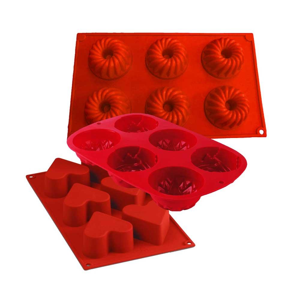 Kit Confeiteiro 3 Formas de Silicone Vermelho Class Home
