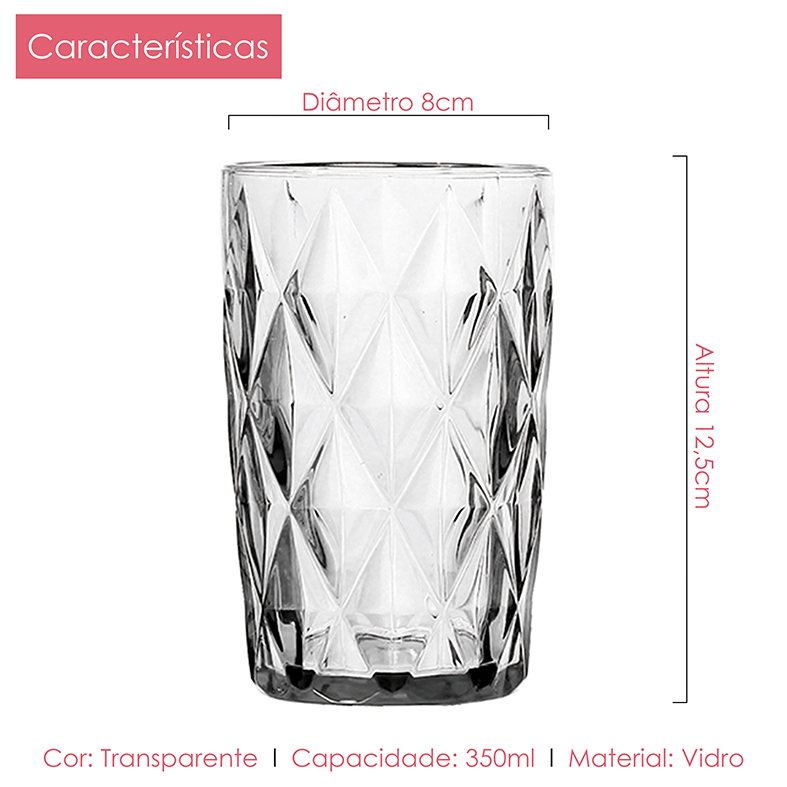 Kit Diamante Clear Jarra + Taças Água + Taças Sobremesa + Copos Class Home 19pçs