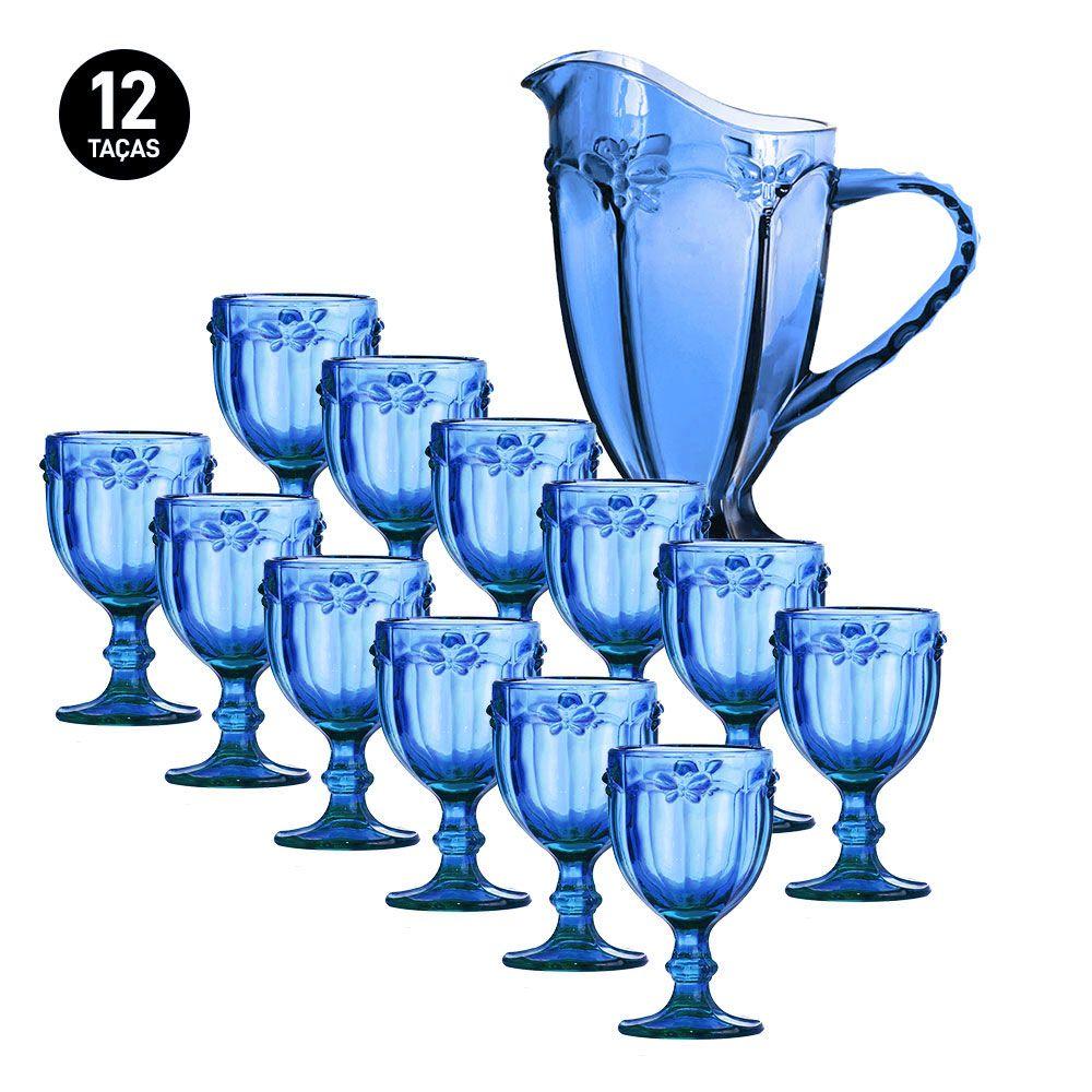 Kit Jarra + 12 Taças Libélula Azul Class Home