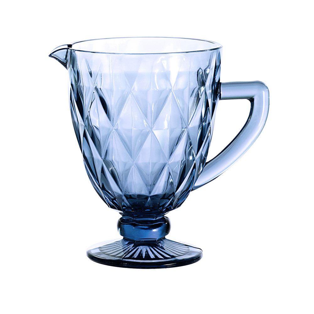 Kit Jarra 1 L + 12 Taças Diamante Azul Vidro Class Home