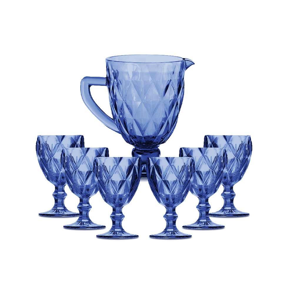Kit Jarra 1 L + 6 Taças Diamante Azul Vidro Class Home