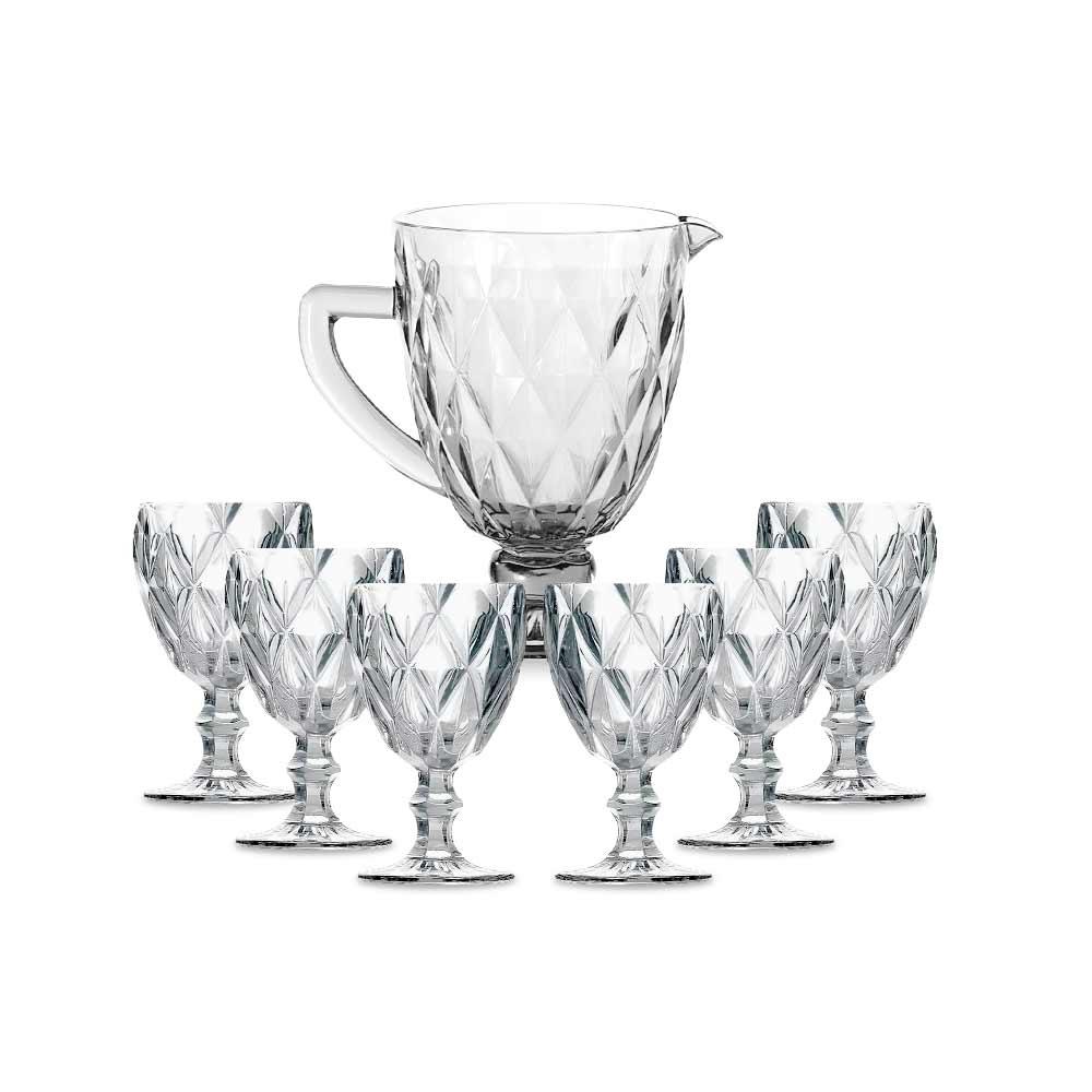 Kit Jarra 1 L + 6 Taças Diamante Clear Vidro Class Home