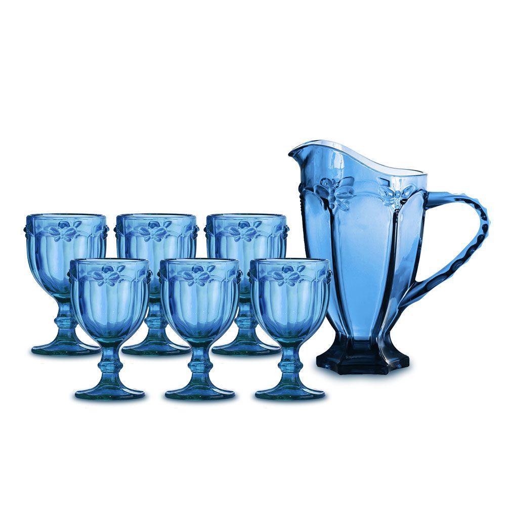 Kit Jarra + 6 Taças Libélula Azul Class Home