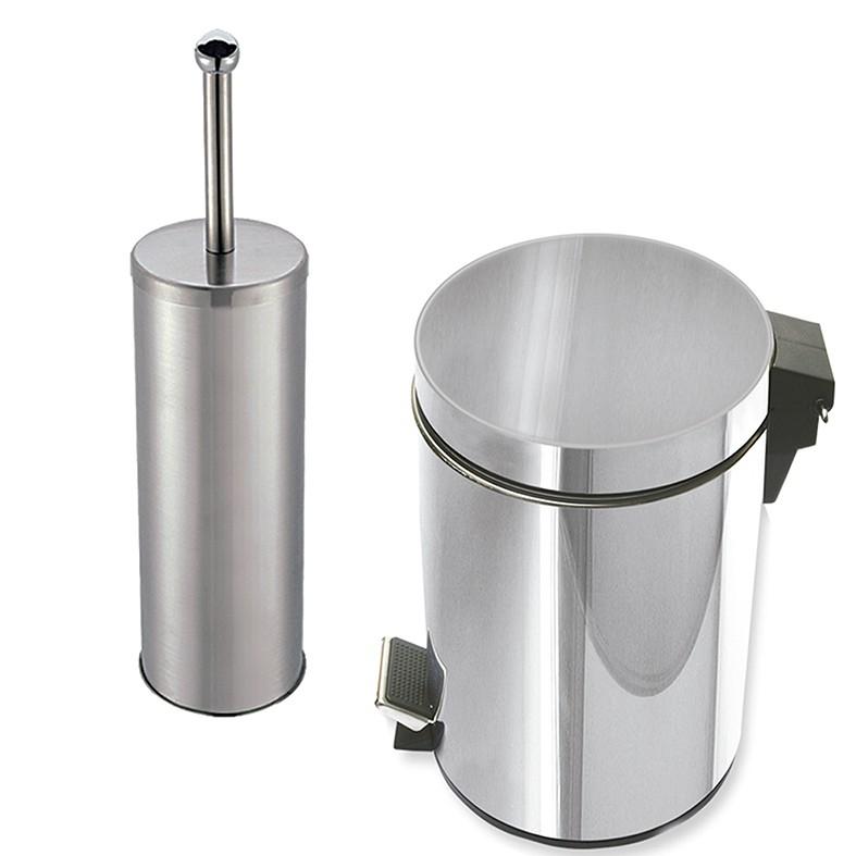 Kit Porta Escova + Lixeira 3 litros Class Home