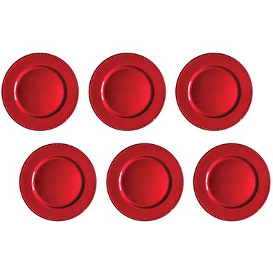 Kit Sousplat Bubbles Vermelho 33 cm 6 unidades Class Home
