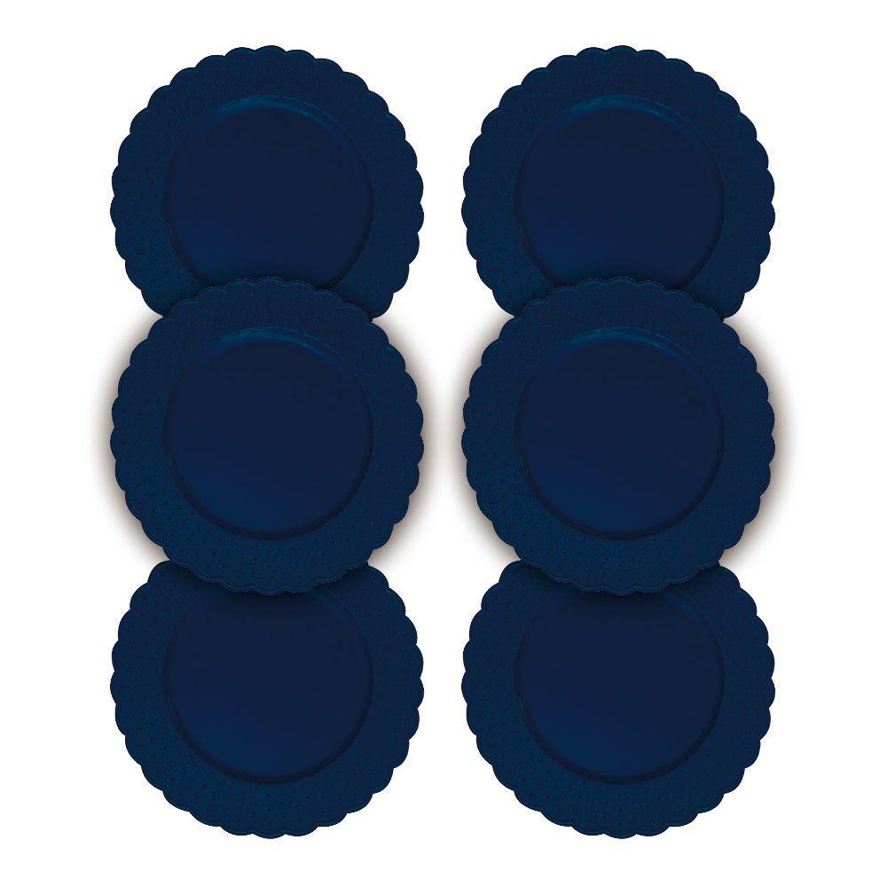 Kit Sousplat Floral Azul 33 cm 6 unidades Class Home
