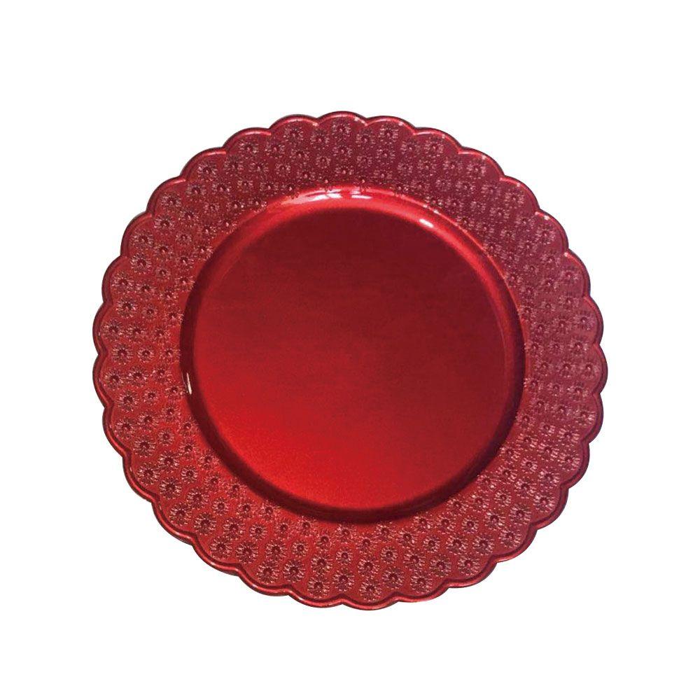 Kit Sousplat Floral Vermelho 33 cm 6 unidades Class Home