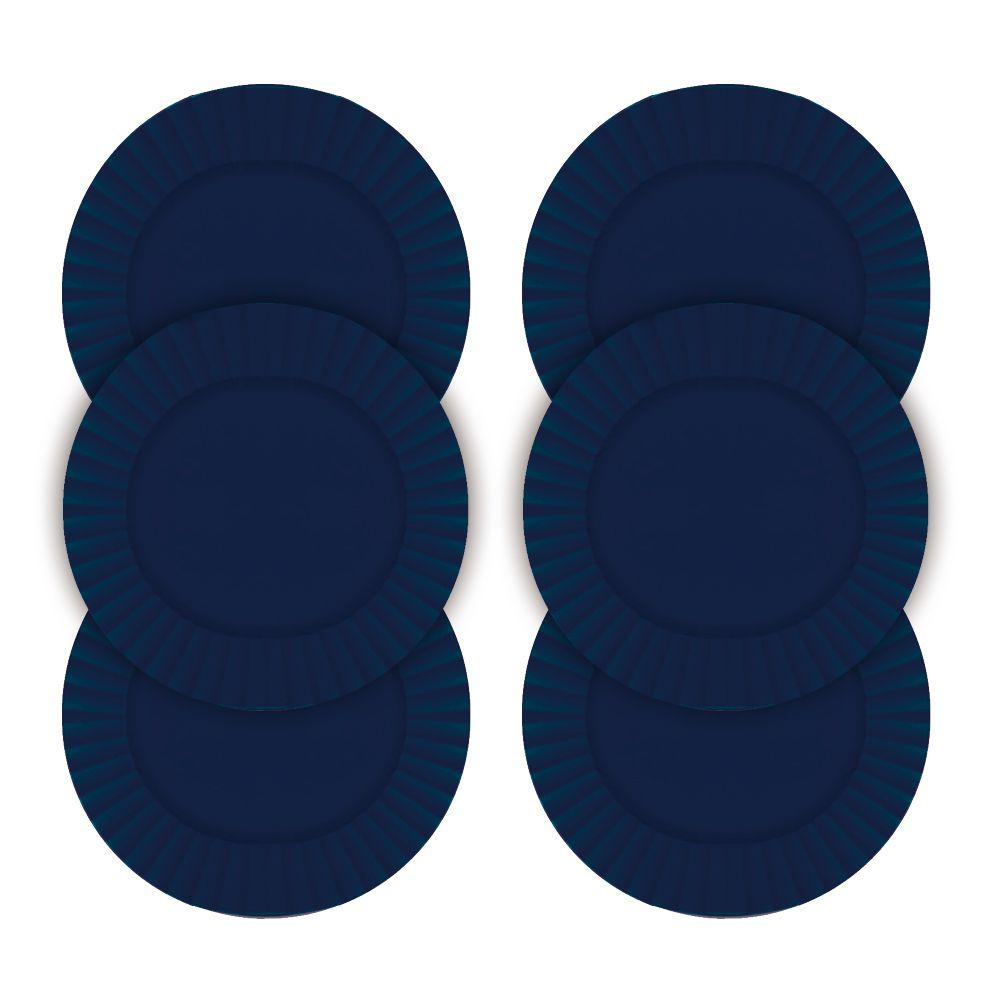 Kit Sousplat Frisado Azul 33 cm 6 Unidades Class Home