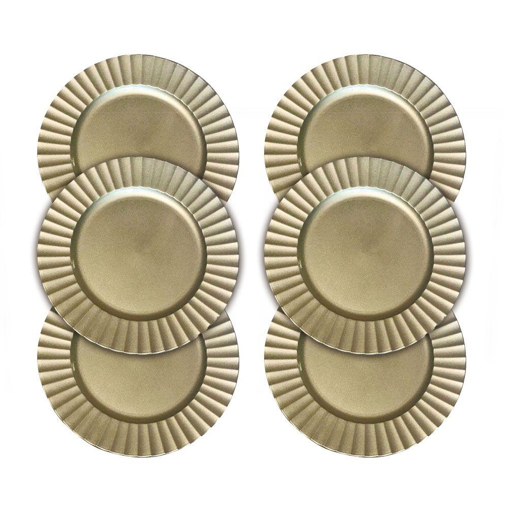 Kit Sousplat Frisado Dourado Antigo 33 cm 6 peças Class Home