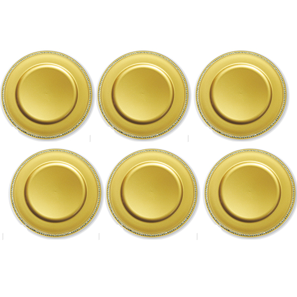 Kit Sousplat Strass Dourado 33 cm 6 unidades Class Home