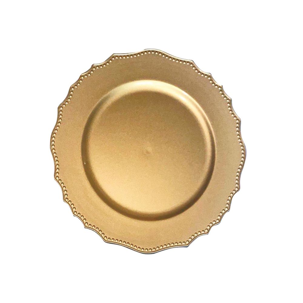 Kit Sousplat Wave Dourado 33 cm 6 unidades Class Home