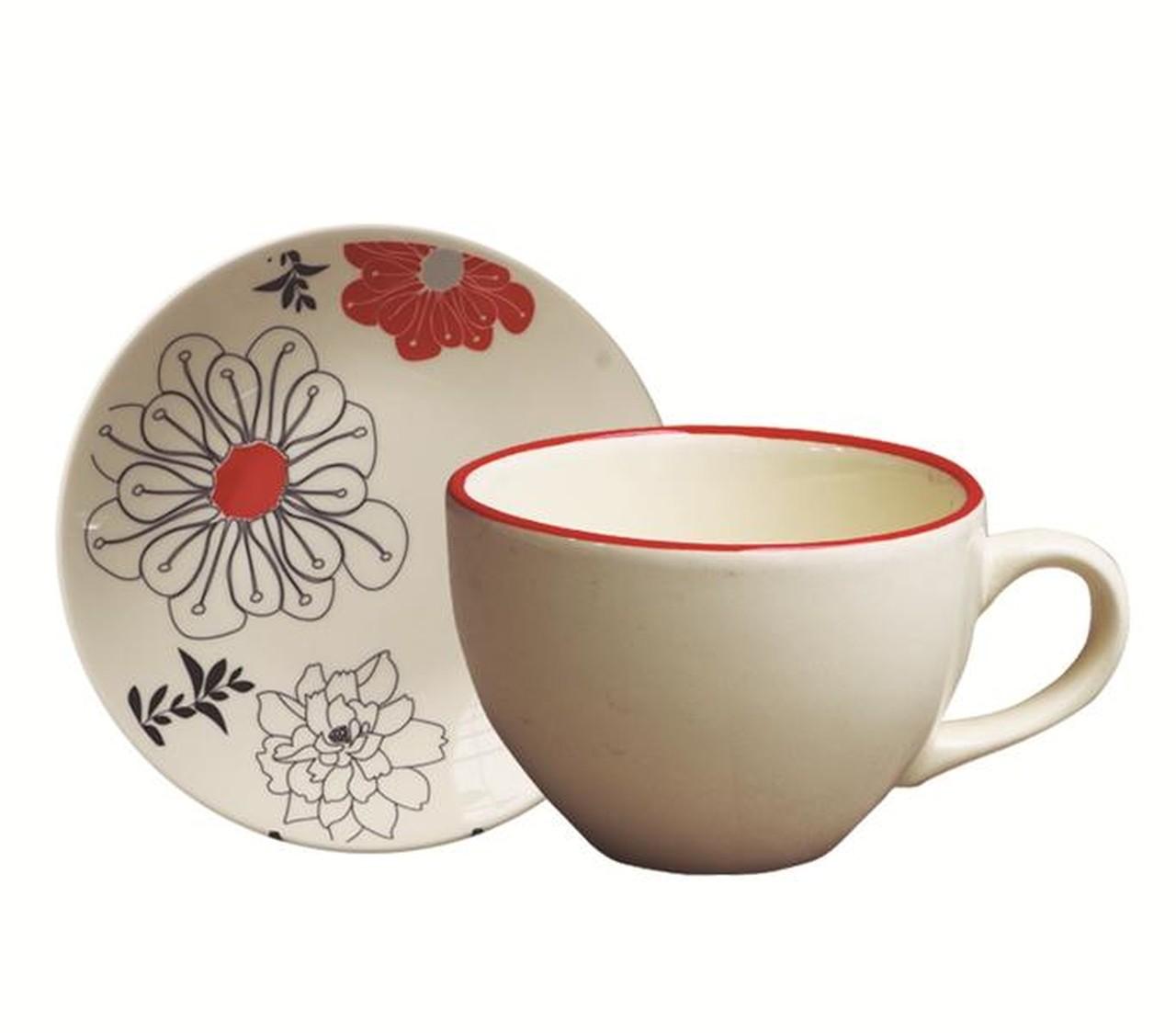 Kit Xícara de Chá c/ Pires Gardenia - 12 pçs