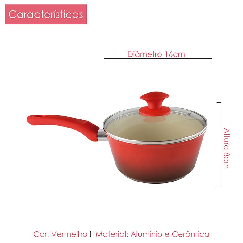 Panelas Revest Cerâmico 4,5mm Vermelho 16cm, 18cm Kit 2pçs