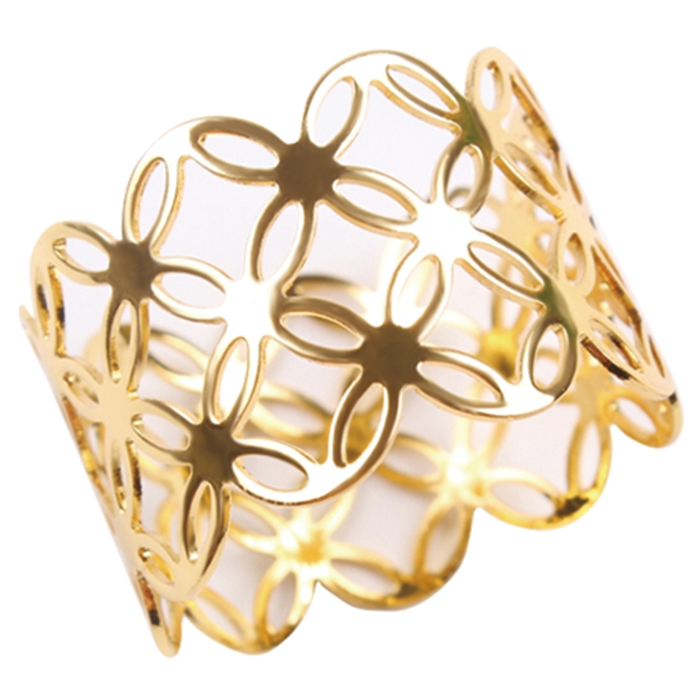 Porta Guardanapo Floral Dourado 4 Peças