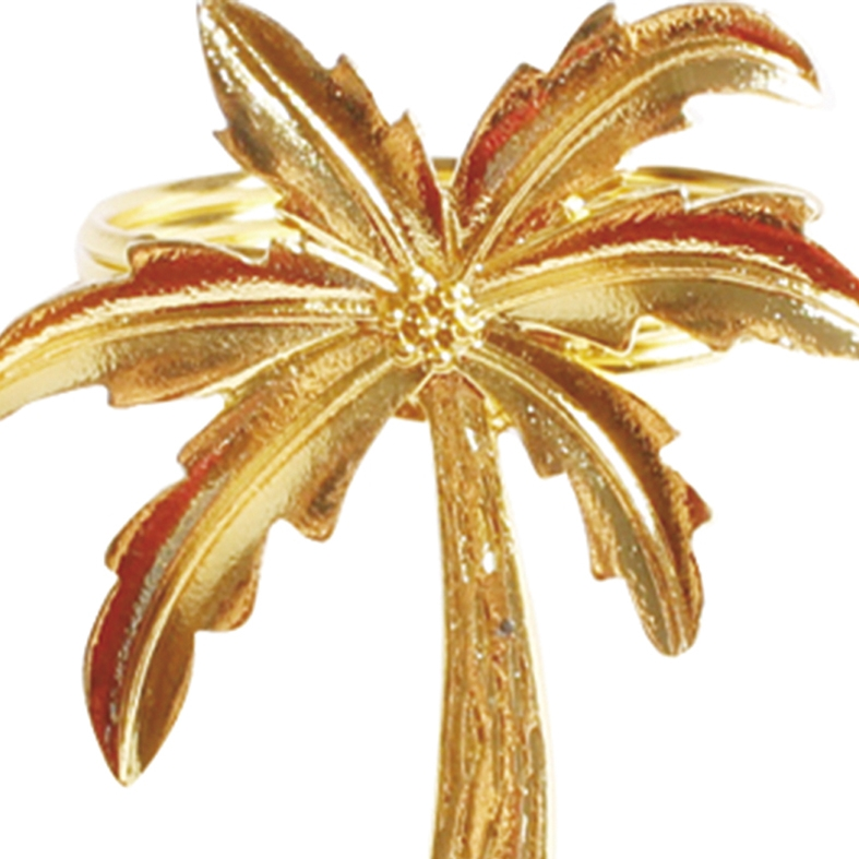 Porta Guardanapo Palmeira Dourado 4 Peças