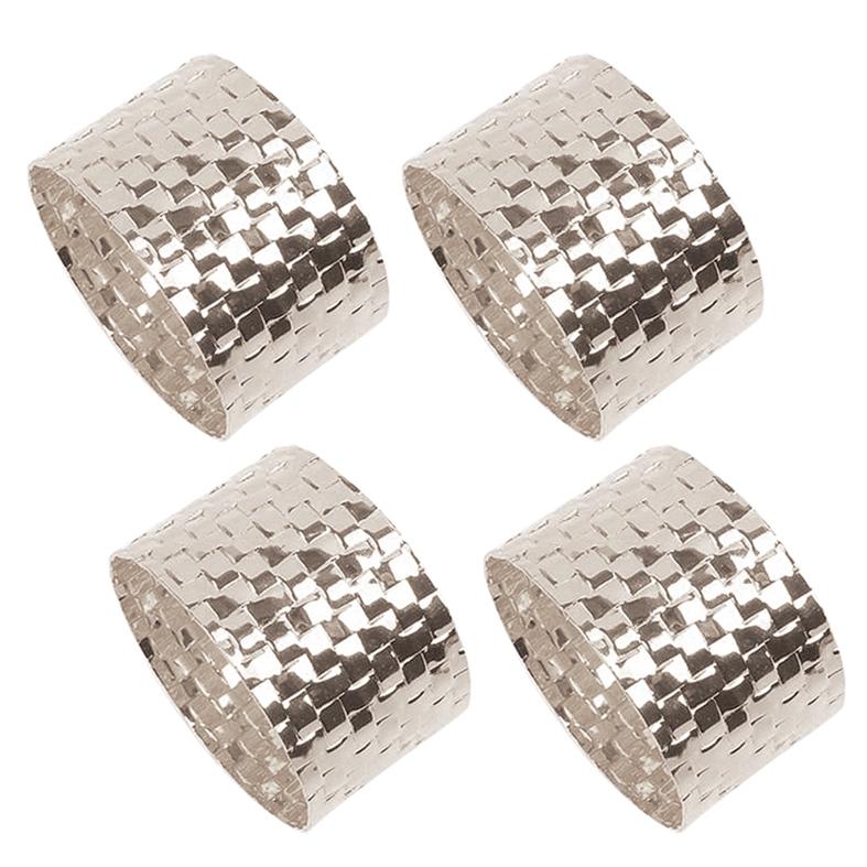 Porta Guardanapo Quadriculado Prata 4 Peças