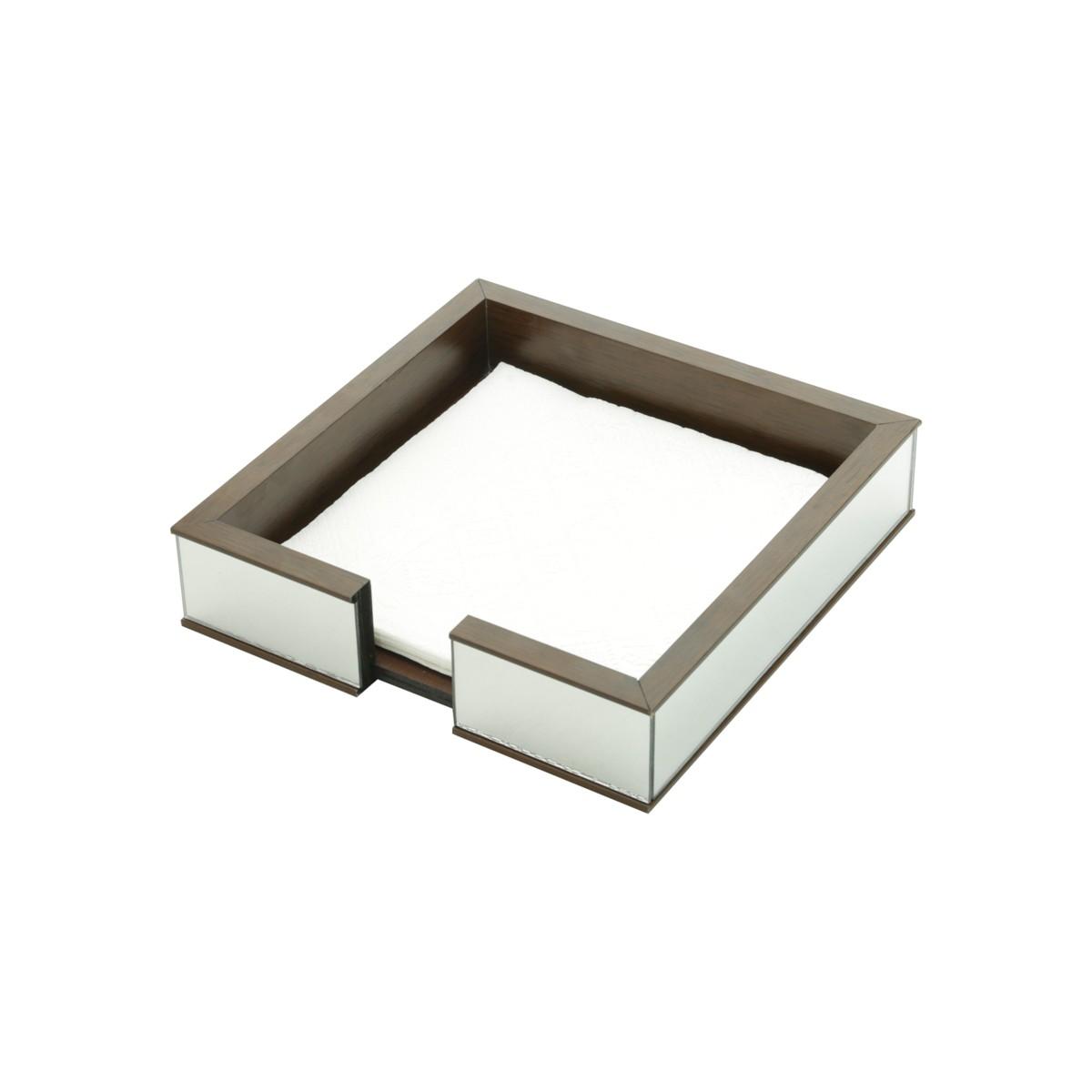 Porta Guardanapos Madeira c/ Espelho 20 cm