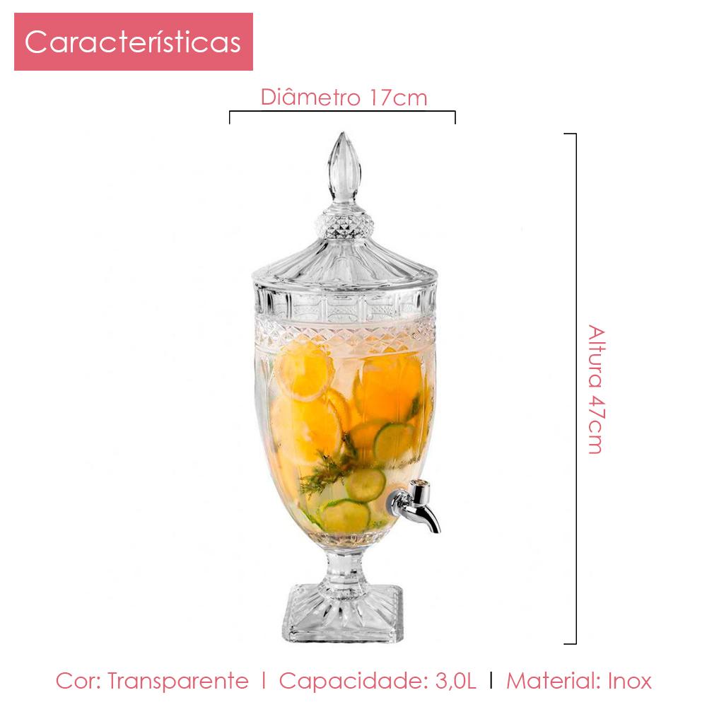 Suqueira Cristal 3,0L + 6 Taças Água Diamante Kit 7 pçs