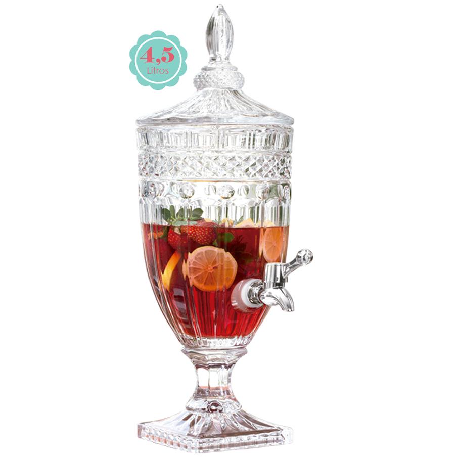 Suqueira Cristal com Torneira 4,5L Class Home