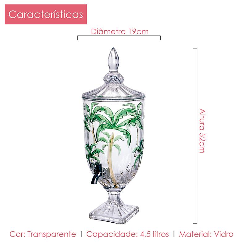Suqueira Palm Tree 4,5l + 6 Copos Class Home Kit 7 pçs