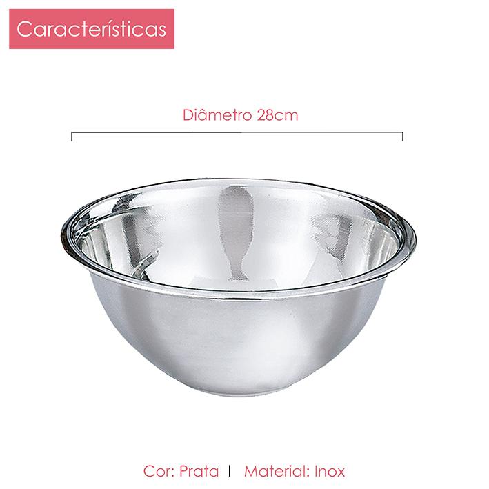 Tigela bowl de 22, 28 e 30cm + Batedor de ovos Kit 4 peças