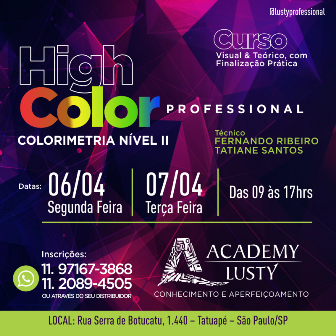 CURSO ACADEMY LUSTY 06 E 07 DE ABRIL 2020 - HIGH COLOR PROFESSIONAL (COLORIMETRIA NÍVEL 2)