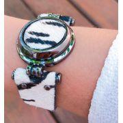 Bracelete em Couro Estampado Zebra