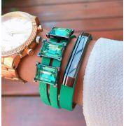 Bracelete em Couro Verde 3 Pedras