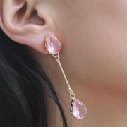 Brinco longo em cristal lapidado rosa