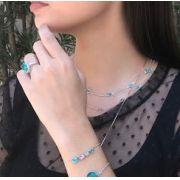 Colar Tiffany com Zircônia Azul Ródio Claro