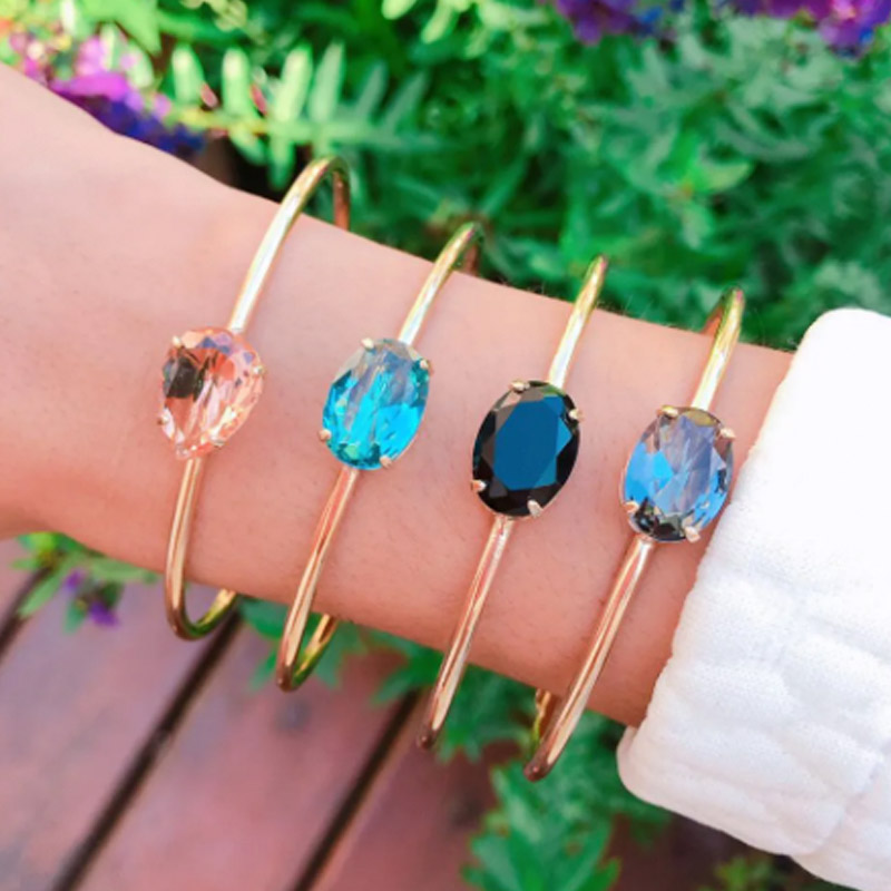 Bracelete  com zircônias coloridas