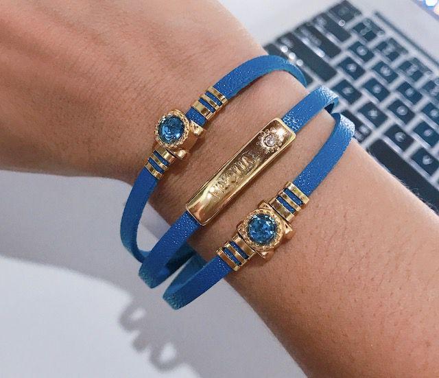 Bracelete em Couro Azul com placa de metal
