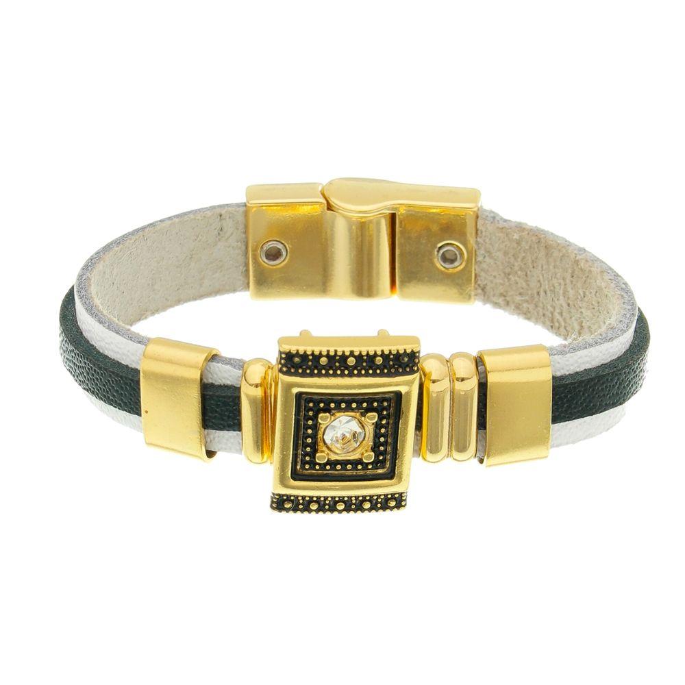 Bracelete em Couro branco e preto banhado