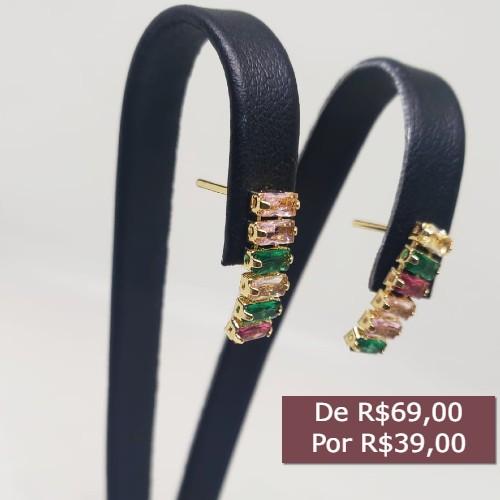 BRINCO BANHADO A OURO COM ZIRCONIAS COLORIDAS
