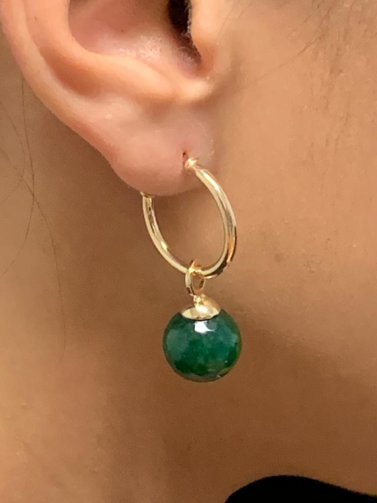Brinco de Argola com  Quartzo verde, Jade Rubi