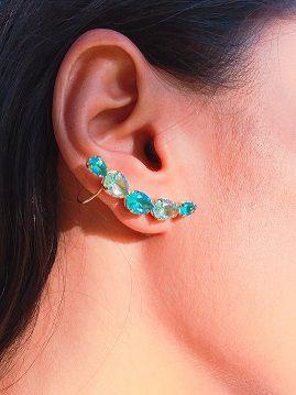Brinco Ear Cuff com Zircônia Azul Ródio Claro