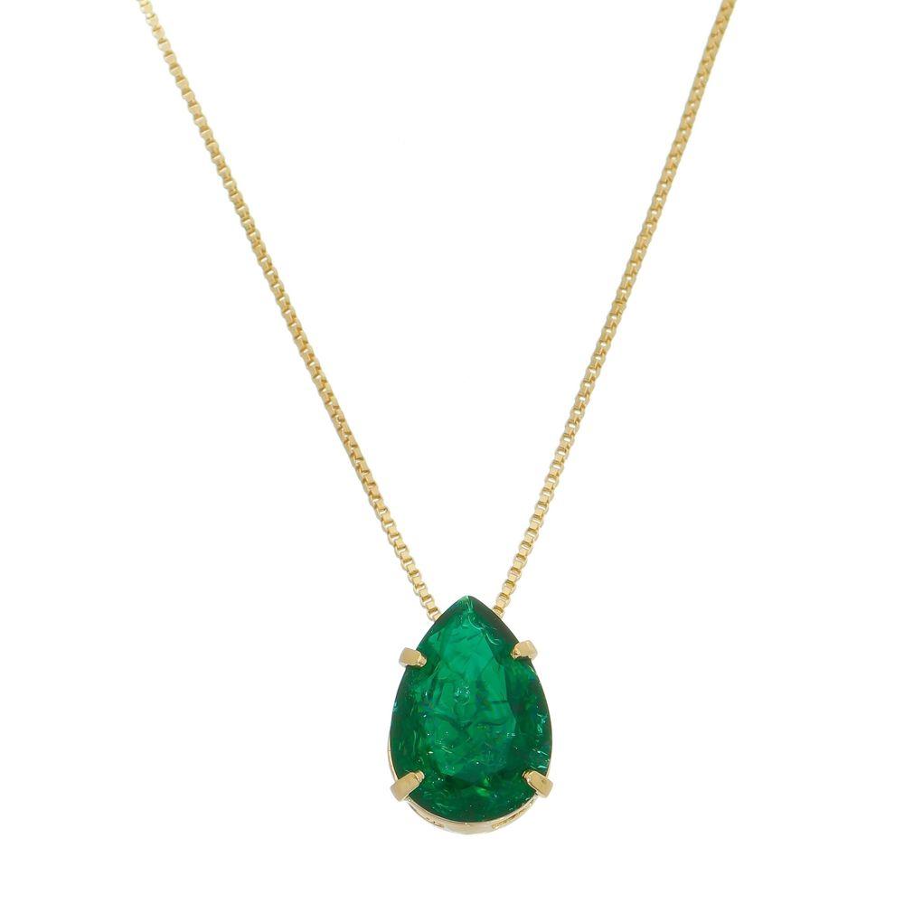Colar com Pedras Fusion Verde Esmeralda