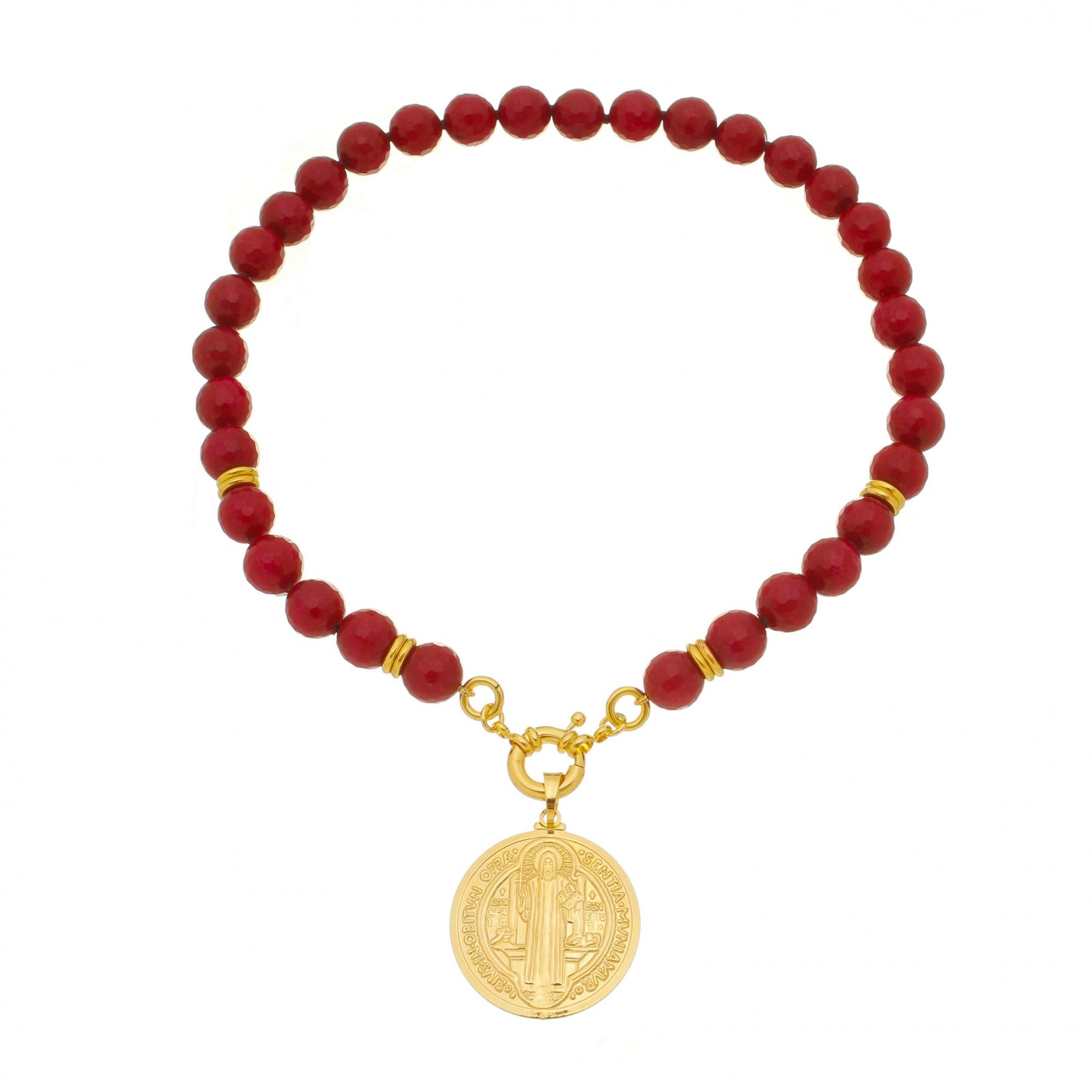 Colar Jade Rubi com Medalha de São Bento banho ouro 18K