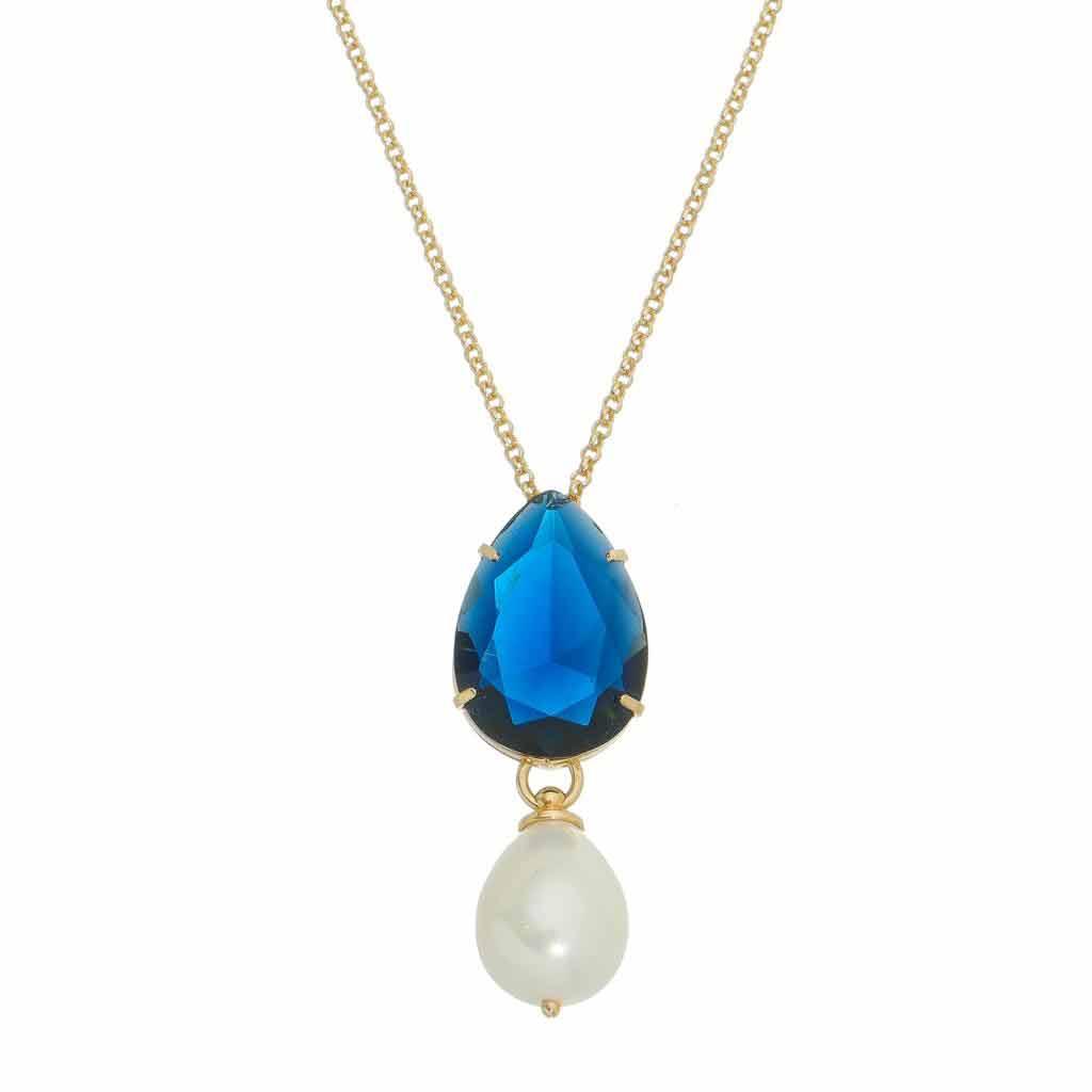 Colar longo gota em cristal lapidado topázio azul com gota pérolas shell