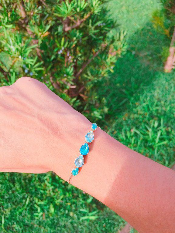 Pulseira com Zircônias Coloridas azuis