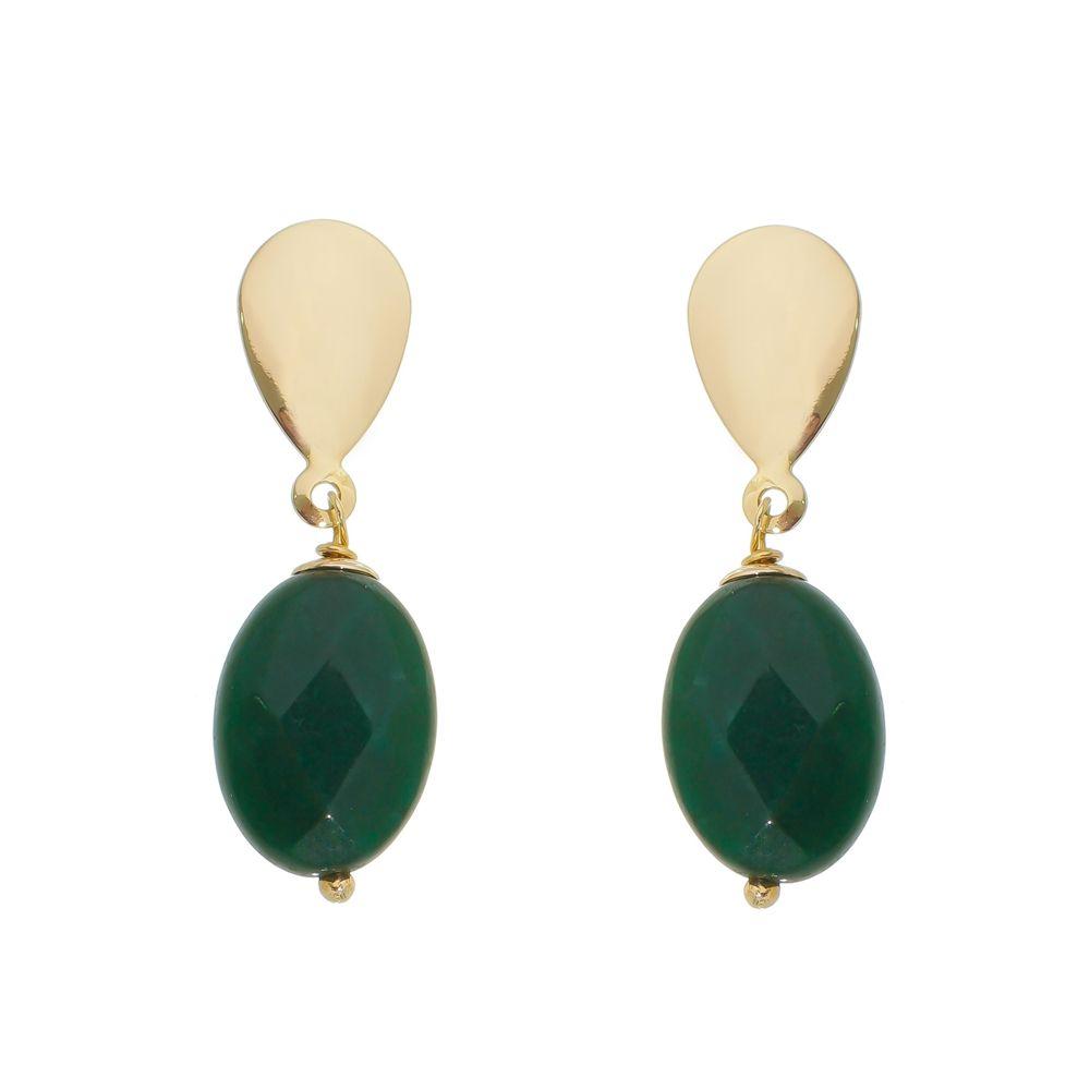 Brinco com Pedra brasileira Jade Verde Esmeralda