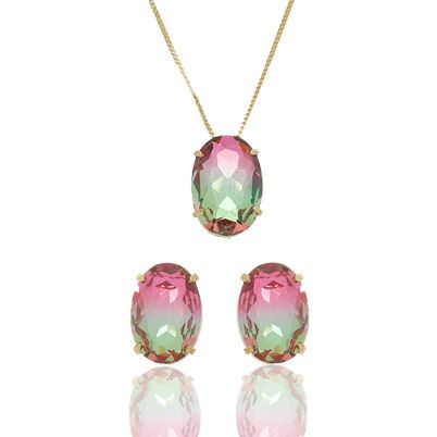 Conjunto com Pedras Rainbow Verde Peridoto