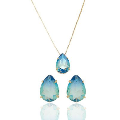 Conjunto com Pedras Rainbow Azul