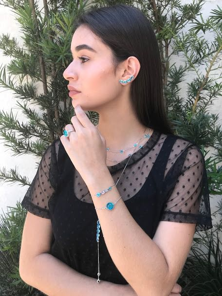 Colar Gravata com Zircônia Azul Ródio Claro