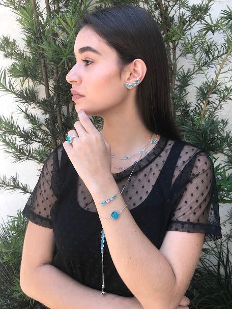 Pulseira com Zircônia Azul/Rosa Ródio Claro